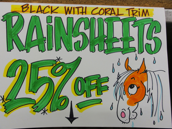 horse rainsheet sale sign